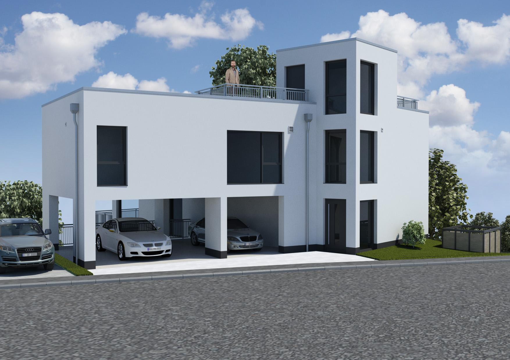 Mehrfamilienhaus Flachdach Bauhaus Kubisch Weiße Moderne im Hang