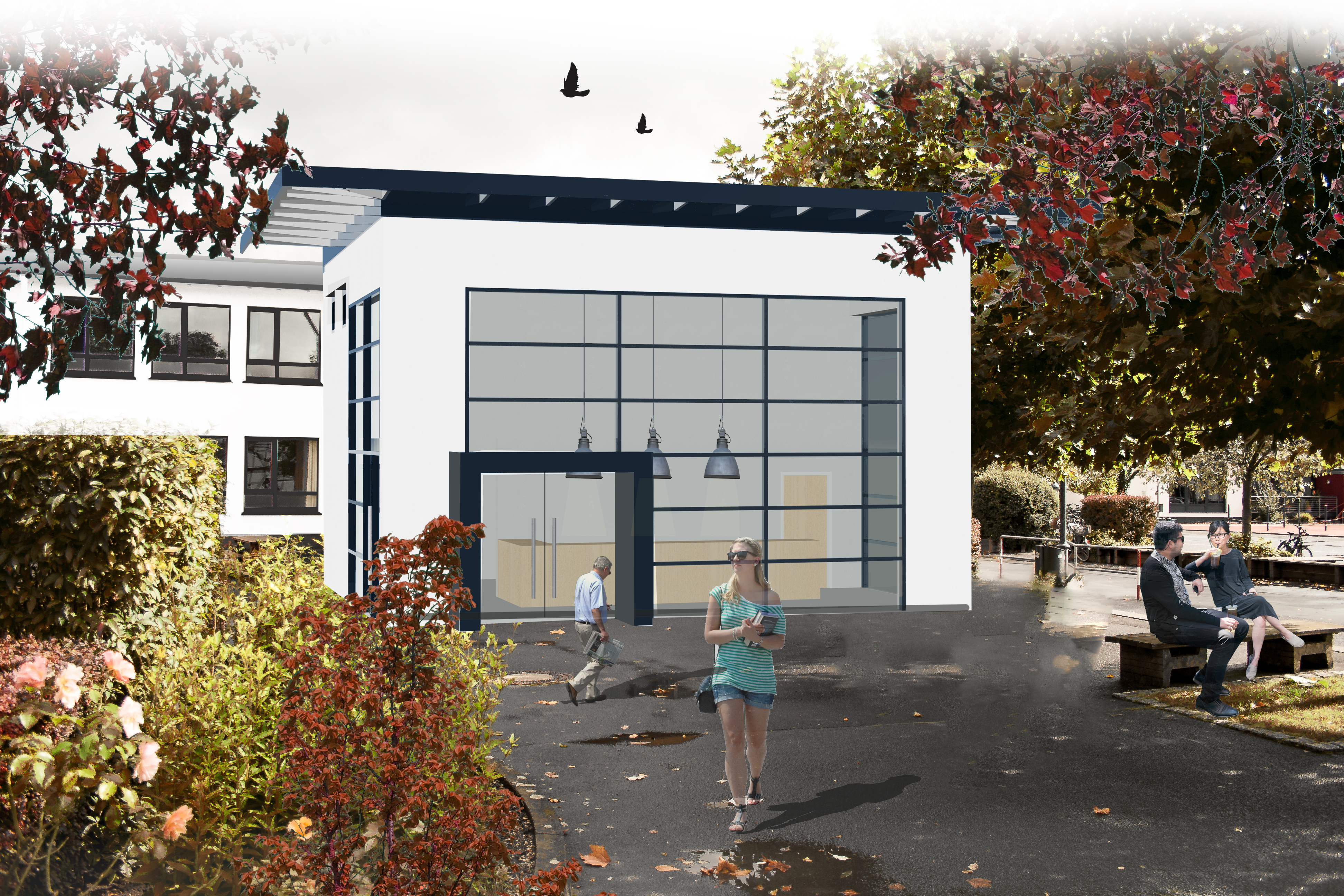 Schulbau Neubau Foyer Konzept Variante 1